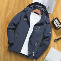 Mens Waterproof Hooded Multi Pocket Outdoor Hiking Jacket