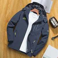 Mens Waterproof Hooded Multi Pocket Outdoor Hiking Jacket