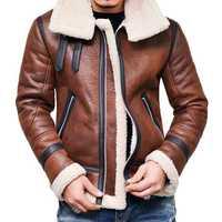 Mens Faux Leather Jacket Fleece Lining Warm Shearling Coat