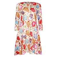 Casual Christmas Snowman Printing 3/4 Sleeve Women Party Dress