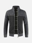 Bon prix Mens Winter Casual Fleece Thick Stitching Knitted Coats Stand Collar Warm Jacket