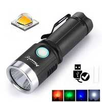 AloneFire X901 2 1000Lumens 6Modes 4 Color Light USB Rechargeable LED Flashlight + Battery + USB Charger