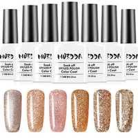 6 Colors Platinum Gold Shimmer Glitter UV Gel Nail Polish