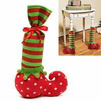 37x12cm Christmas Wave Stripe Bottle Bag Gift Bag Christmas Chair Table Cover Decorations