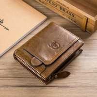 Bullcaptain Cowhide Vintage Zipper Wallet for Men