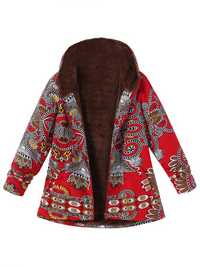 Ethnic Women Floral Print Hooded Thicken Coats