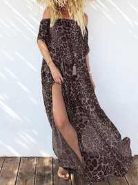 Leopard Print Off Shoulder Short Sleeve Bohemian Beach Dress