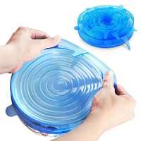 6PCS Reusable Food Cover Fresh Keeping Sealing Stretch Lid Kitchen Storage Container Silicone Lid