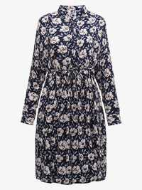 Women Casual Loose Floral Mini Shirt Dress LWith Belt