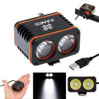 XANES DL01 1200LM 2xT6 LED 4-Mode Waterproof Bicycle Head Light Temperature Control Power Display No Battery
