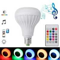E27 12W Emergency Rechargeable Colorful LED Light Bulb bluetooth Speaker Music Lamp AC220V