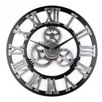 Loskii 45cm Round Gear Wall Clock Roman Numerals Open Face Modern Creative Wall Clock