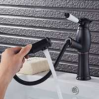 Kitchen Faucet Pull Out Cool Black Painted Finish Flexible Hot and Cold Mixer Taps Deck Mount Swivel Faucet