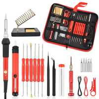 26Pcs 60W Multifunctional Electric Solder Iron Kit Screwdriver Desoldering Pump Tip Wire Pliers + Tool Bag EU Plug/US Plug