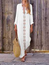 Bohemian Print V-neck Long Sleeve Side Slit Maxi Dress