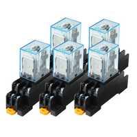 5 PCS 12V DC Coil Power Relay LY2NJ DPDT 8 Pin HH62P JQX-13F With Socket Base Power Relay Coil Power Relay