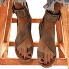 Discount pas cher Women Retro Toe Ring Roman Ankle Strap Casual Summer Flat Sandals
