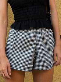 Casual Women Cotton Elastic Waist Loose Plaid Shorts Pants