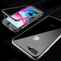 Bakeey Magnetic Adsorption Clear Tempered Glass Case+Tempered Glass Film For iPhone X/8/8 Plus/7/7 Plus