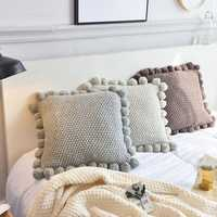 Ins Solid Knitted Pillow Case Creative Cushions Cover Simple Nordic Style Hanging Ball Soft Decoration Home Sofa