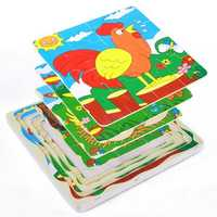 Infant Toddler Baby Creative Multi-layer Wooden Puzzle Toys Development Gift