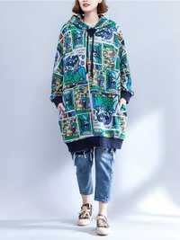 Plus Size Women Cartoon Pattern Long Sleeve Hooded Dress