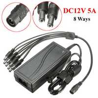 DC12V 5A Monitor Power Adapter for Camera Radio LED PC + 8 Way Power Splitter Cable