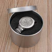 Silver Round Tin Jewelry Watch Gift Box Case Sponge Window Storage