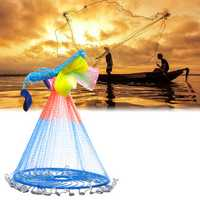 2.4m Colorful Hand Cast Fishing Net Outdoor Hunting Fishing Bait Network Fishing Tools