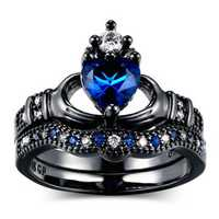 Blue Zirconia Gemstone Crown Ring Love Heart Stackable Finger Ring Set