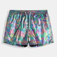 ChArmkpR Irregular Reflective Color Block Board Shorts