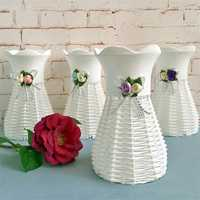 Artificial Rattan Square Flower Vase Roses Storage Basket Garden Wedding Party Decorations