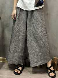 Stripe Elastic Waist Pockets Loose Wide Leg Pants