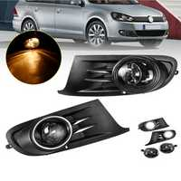 Pair Car Front Bumper Grill Fog Lights Lamp with Bulbs Amber for VW Jetta Sportwagen Golf MK6 09-14