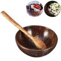 Natural Coconut Shell Bowl and Spoon Handmade Handcraft Carved Tableware Gift Rice Bowl