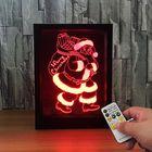 Prix de gros LED 3D Christmas Colorful Photo Frame Night Lights 7 Colors Change Remote Control Desk Santa Lamp