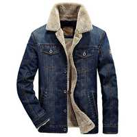 Mens Winter Thick Warm Fleece Multi Pocket Denim Blue Jacket