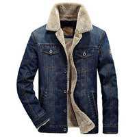 Mens Winter Thick Warm Fleece Multi Pocket Denim Blue Jacket