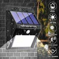 20 LED 400Lumen Outdoor Solar Wall Lamp Wireless Motion Sensor Lights Waterproof Bright Security Night Light for Yard Walkway