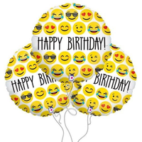 3Pcs 18inch Happy Birthday Expression Balloon Emoji Foil Ballon For Birthday Party Decoration Balloo