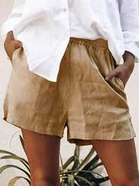 Women Cotton Pure Color Elastic Waist Shorts
