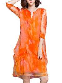 Elegant Women Flowers Printed 3/4 Sleeve Silk Dresses