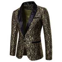 Mens Jacquard Printing Chic Dress Suit Jacket Stage Blazers
