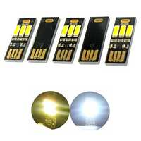 5 Pcs USB Mini Night Light Portable 3 LED Touch Stepless Dimming / Light-controlled Night Card / General Emergency Light Flashlight