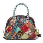 Discount pas cher Women Genuine Leather Bohemian Floral Handbag