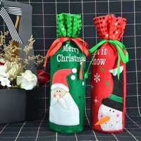 Santa Snowman Wine Bottle Covers Bag Merry Christmas Table Decoration Wine Bottle Cover Bags Gift Wrap Party Decor