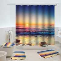 Waterproof Shower Curtain Non-Slip Rug Three Set Bathroom Decor Blue Ocean Sunset