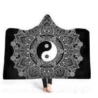 Boho Mandala Plush Wearable Hooded Blankets 2 Layer Blankets Cloak Throw Blankets