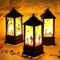 Battery Powered Halloween Vintage Pumpkin Castle LED Flame Night Light Hanging Lantern Party Decor