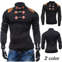 Fashion Horns Buttons Design Patchwork Pullovers Casual Knitted Stand Collar Sweater For Men